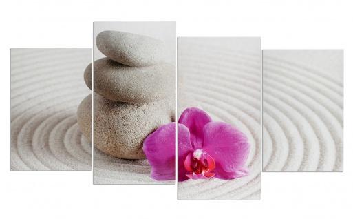 Wandbild 4 teilig Sand Wellness rosa Orchidee Feng Shui Bild Leinwand
