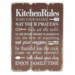 Wandbild Kitchen Rules 28x21cm Holz Braun Shabby Chic Vintage Küche Deko Schild