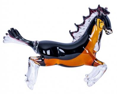 Designer Skulptur Pferd H24cm Glas Glasdeko Schwarz Orange Deko Unikat Geschenk