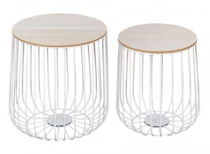 2er Set Beistelltisch Metall Weiß Metallkorb Korb Tisch Couchtisch Deckel Deko