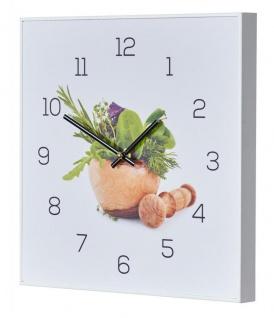 Wanduhr 30x30cm Uhr PVC Rahmen Weiß Küche Kräuter Gewürze Deko Gewürze Wandbild