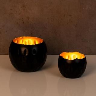 2er Set Teelichthalter Schwarz Gold Höhe 7cm und 10cm Alu Kerzenhalter Deko - Vorschau 4
