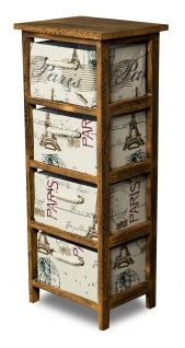 Schrank Holz 75 cm Hoch Braun Regal Kommode Schränkchen Paris Eiffelturm