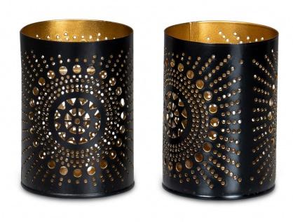 2er Set Teelichthalter Rund Schwarz Gold H11cm Metall Windlicht Kerzenhalter
