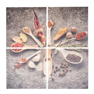 4er Set Wandbild 40x40cm Holz Birkenholz Gewürze Löffel Küche Deko Wanddeko