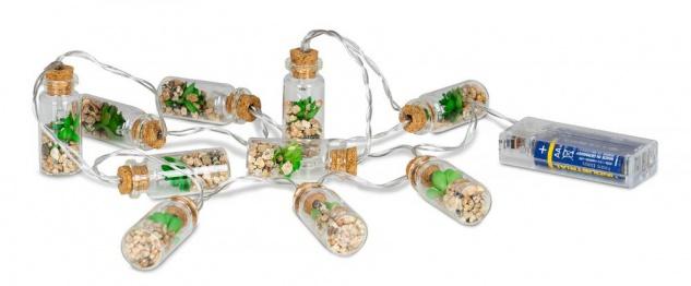 Lichterkette Innen 10 LED Lampe Sukkulenten Gläser Pflanzen Kunstpflanze Deko