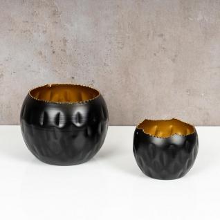 2er Set Teelichthalter Schwarz Gold Höhe 7cm und 10cm Alu Kerzenhalter Deko - Vorschau 3