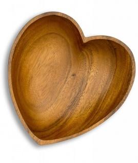Schüssel Akazie 20x5, 5cm Herz Holz Schale Obstschale Obstkorb Brotkorb Design - Vorschau 3