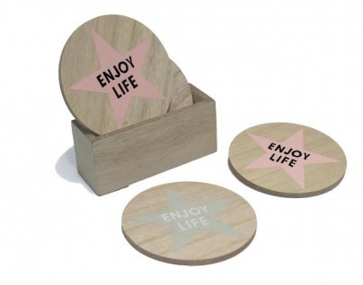 5tlg. Set Glasuntersetzer Holz 10cm rund Rosa Beige Enjoy Life Box - Vorschau