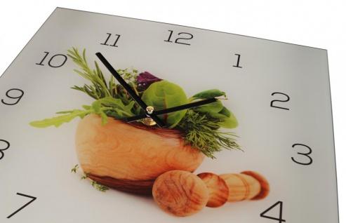 Wanduhr aus Glas 30x30cm Uhr als Glasbild Küche Kräuter Gewürze Deko - Vorschau 3