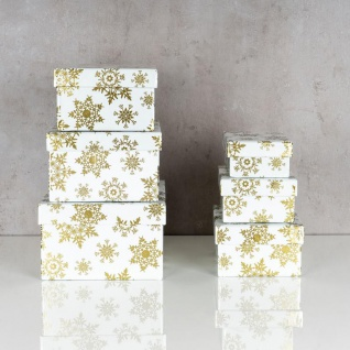 Geschenkbox Weihnachten.Geschenkbox 6er Set Weihnachten Christmas Geschenk Schneeflocken Gold Box Deko
