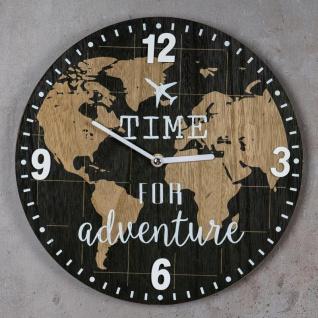 Wanduhr 30x30cm Uhr Holz Braun Küchenuhr Weltkarte Wanddeko Deko Zahlen Map - Vorschau 2