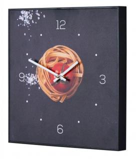 Wanduhr 30x30cm Uhr PVC Rahmen Schwarz Küche Pasta Nudeln Gewürze Deko Küche