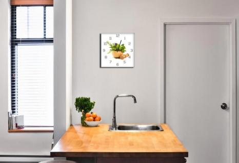 Wanduhr aus Glas 30x30cm Uhr als Glasbild Küche Kräuter Gewürze Deko - Vorschau 2