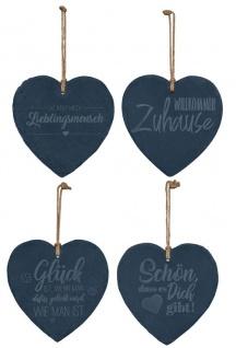 4er Set Schiefertafel Herz 20x20cm Sprüche Schieferplatte Memotafel Dekohänger