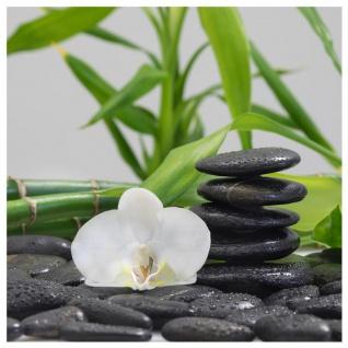 levandeo Glasbild 30x30cm Bambus Orchideen Steine Wandbild Deko Relax Wellness