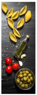 Glasbild 30x80cm Wandbild aus Glas Küche Pasta Nudeln Oliven Italien