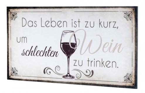 Wandbild 40x20cm Wein Spruch Küche Küchendeko Deko Wandschild Bild Wanddeko