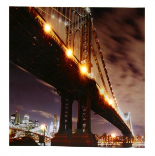 LED Wandbild 50x50cm New York Manhatten Bridge LED-Bild Beleuchtung