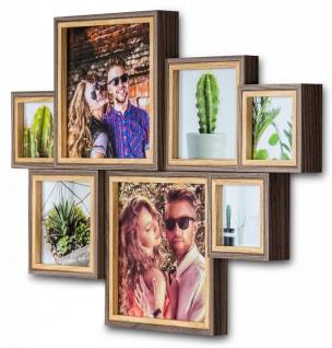 Bilderrahmen 46x33cm Holz 7 Fotos Eiche Optik Fotorahmen Collage Galerie Deko