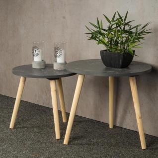 2er Set Beistelltisch Beton Optik Holz 2 Größen 40 und 48 cm rund Couchtisch - Vorschau 3