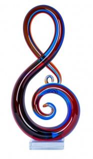 Designer Skulptur H35cm Glasskulptur Notenschlüssel Blau Rot Deko Glas Geschenk