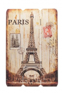 Holz-Schild Wandschild Paris France Schild Wandbild Eiffelturm Vintage