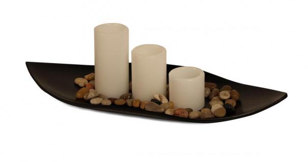 3er Set LED Echtwachs Kerzen mit Deko Schale Licht Deko Tischdeko