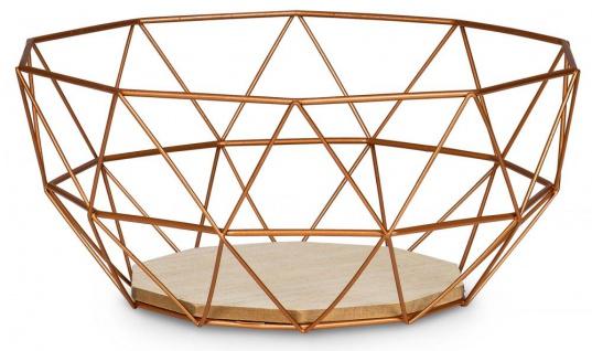 Korb Metall Kupfer 26x12cm Modern Holz MDF Braun Schüssel Schale Deko Design