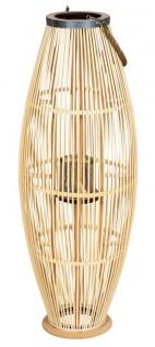 Laterne H95cm Bambus Windlicht Natur Holz Glas Kerzenhalter Sisal Deko