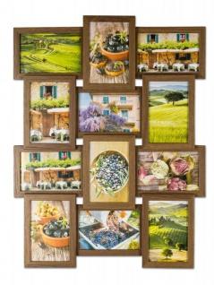 levandeo Bilderrahmen Collage 45x58cm 12 Fotos 10x15 Nussbaum MDF Holz Glas