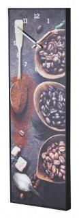 Wanduhr 20x60cm Braun Kaffee Coffee Rahmen Schwarz Küche Bild Cafe Wanddeko Uhr