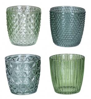 4er Set Windlicht H7, 5cm Glas Grün Teelichthalter Tischdeko Kerzen Retro Deko