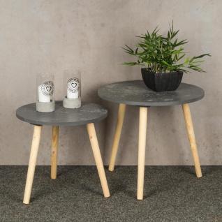 2er Set Beistelltisch Beton Optik Holz 2 Größen 40 und 48 cm rund Couchtisch - Vorschau 2