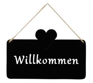 Schild Willkommen 25x16cm Außen Garten-Deko Schwarz Matt Herz Eisen Türschild Wandbild