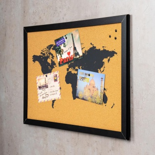 Gerahmte Pinnwand 60x40 Kork-Platte Holzrahmen Weltkarte Map Deko Schwarz - Vorschau 3