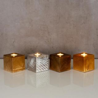 levandeo Teelichthalter Holz Massiv 10x10cm Nussbaum Farbig Kerzenständer Deko - Vorschau 5