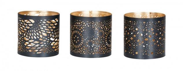 3er Set Windlicht 10x10cm Metall Schwarz Gold Teelichthalter Kerzen Deko