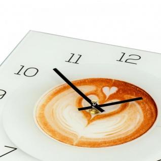 Wanduhr aus Glas 30x30cm Uhr als Glasbild Küche Cappuccino Coffee Deko - Vorschau 3