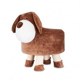 Hocker Hund H25cm Braun Plüsch Polsterhocker Kinderzimmer Tierhocker Stuhl
