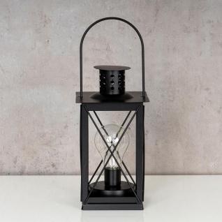 levandeo Tischlampe Metall Schwarz LED 12x23cm Lampe Laterne Standleuchte Retro - Vorschau 2