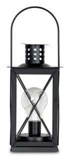 levandeo Tischlampe Metall Schwarz LED 12x23cm Lampe Laterne Standleuchte Retro