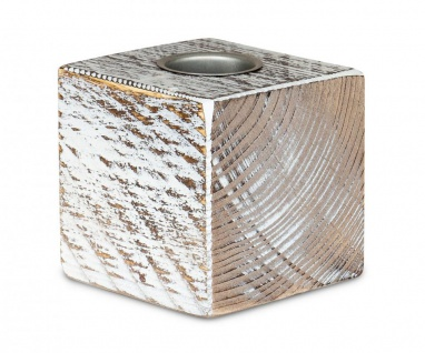 levandeo Teelichthalter Holz Massiv 10x10cm Shabby Chic Kerzenständer Rustikal