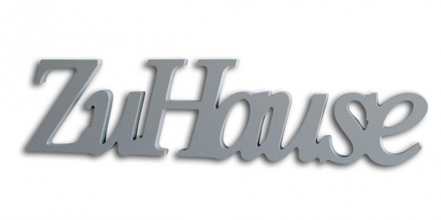 Schriftzug zu Hause grau silber Holz zum Hängen Wandobjekt Dekoration