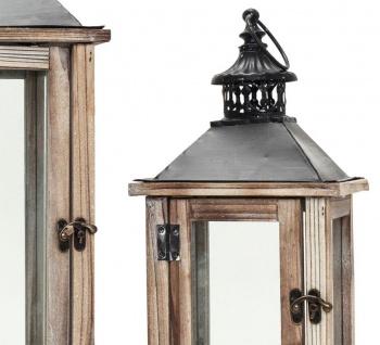 2tlg. Laternen Set Holz natur braun Metall Glas Shabby Chic Garten - Vorschau 3