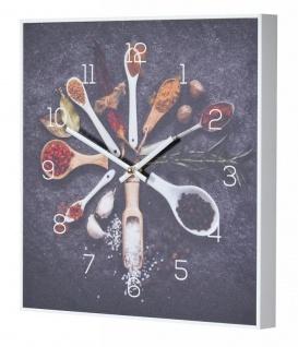 Wanduhr 30x30cm Uhr PVC Rahmen Weiß Gewürze Küche Kräuter Wanddeko Küchenuhr