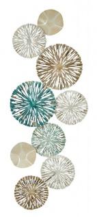 3D Wandbild 33x87cm Ringe Kreise Metall Blau Gold Deko Teller Wanddeko Design