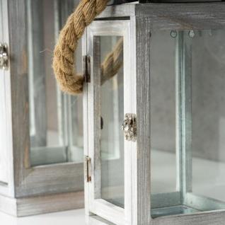 3er Set Laterne 63cm Hoch Grau Schwarz Holz Windlicht Shabby Chic Landhausstil - Vorschau 5