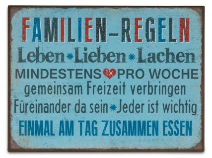 Blechschild 35x26cm Metall Wandbild Familienregel Familie Sprüche Deko