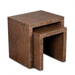 levandeo Couchtisch 2 Satztisch Holz 44x44x36cm Rostoptik Beistelltisch Tisch